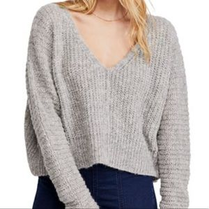 FREE PEOPLE NWT Moonbeam V-Neck Oversize Sweater L